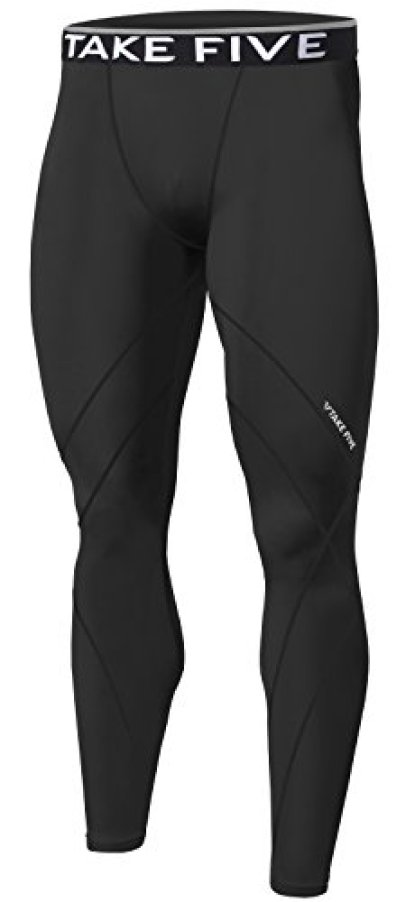 New Men Skin Tights Compression Base Under Layer Sports Running Long Pants (M, NP531 Black)
