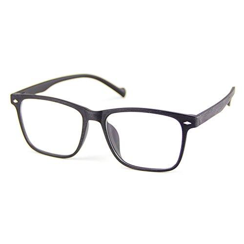 Cyxus Blue Light Blocking Tr90 Lightweight Glasses, Matte Black Wood Grain Frame