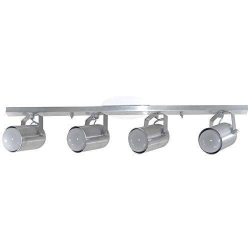 Spot No Trilho Para 04 Lâmpadas - Sala/Cozinha / Quarto - Aluminio Escovado