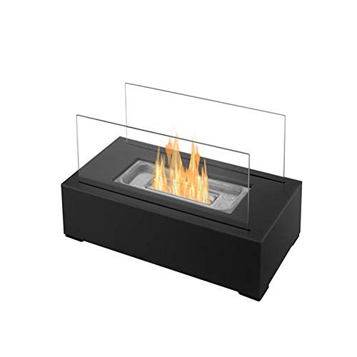 DKIEI Tabletop Fireplace Bio Ethanol Fireplace Indoor/Outdoor Portable Rectangle Freestanding Heater