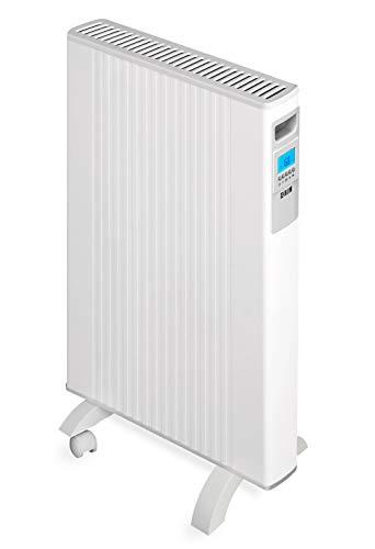 HJM ALEA 1000 - Emisor térmico móvil de bajo consumo 1000 W, pantalla LCD, programable, diseño extraplano, aluminio, blanco