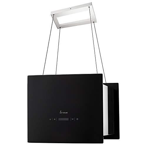 KKT KOLBE Cappa aspirante ad isola / 40 cm/acciaio inox/vetro nero/extra silenziosa / 4 gradini/illuminazione a LED/tasti sensore TouchSelect/montaggio cavo / BOX400S