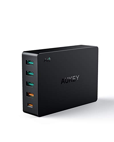 AUKEY USB Charger with 6-Port 60W Desktop USB Charging Station for iPhone X / 8 / 7 / Plus, iPad Pro / Air / Mini, Samsung Note8 / S8 & more