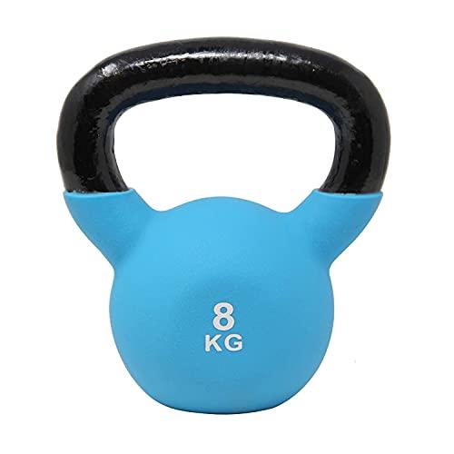 POWRX Kettlebell Neopren 2-26 kg inkl. Workout I Kugelhantel in versch. Farben und Gewichten I Bodenschonende Schwunghantel (8 kg (Blau))