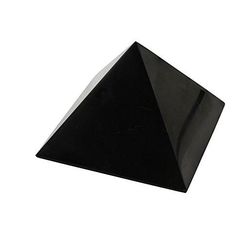 Heka Naturals Pirámide de Piedra Shungit Pulida 8 cm con Fullerenos   Auténtica Piedra Shungita de Karelia, Rusia   Pirámide Pulida de 8 cm