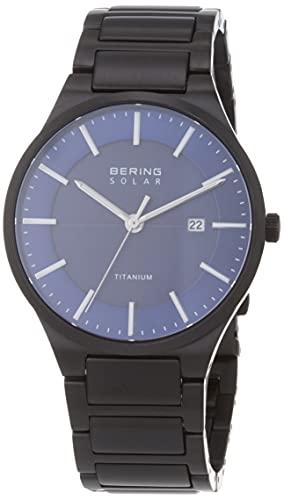 BERING Herren Analog Quarz Solar Collection Armbanduhr mit Titan Armband und Saphirglas 15239-727