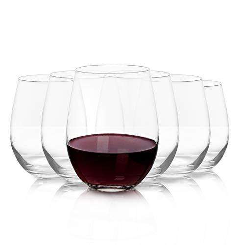 Joeyan Bicchieri da Vino Senza Stelo Set di 6-500ml Calice da Vino Bianco e Rosso - Bicchieri Acqua per Vino, Cocktail, Gin e Succhi
