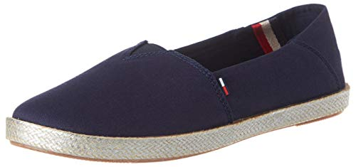 Tommy Hilfiger Metallic Flexible Espadrille, Zapatos de Tacón para Mujer, Azul Twilight Navy C87, 38 EU