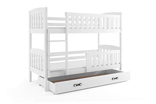 Interbeds Etagenbett QUBA 190x80cm Farbe: WEIß; mit Matratzen und Lattenroste (weiß + weiße Schublade)