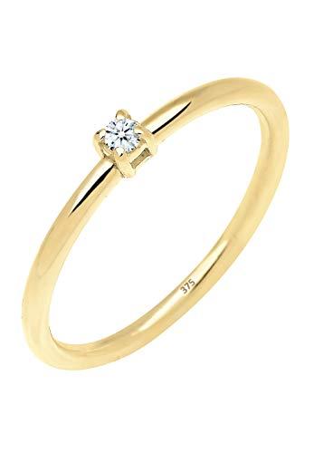 Anillo de compromiso Elli 375 oro amarillo (0,03 quilates) con brillantes blancos - 0611161314