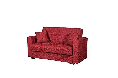 Divano letto 2 posti tessuto rosso, 160x83x73 cm