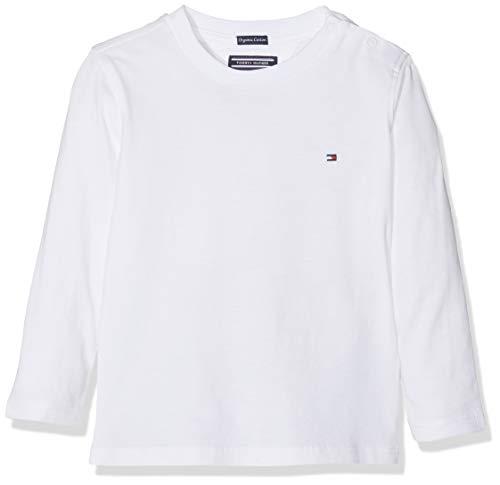 Tommy Hilfiger Boys Basic CN Knit L/s Maglietta, Bianco (Bright White 123), 152 (Taglia Produttore: 12) Bambino