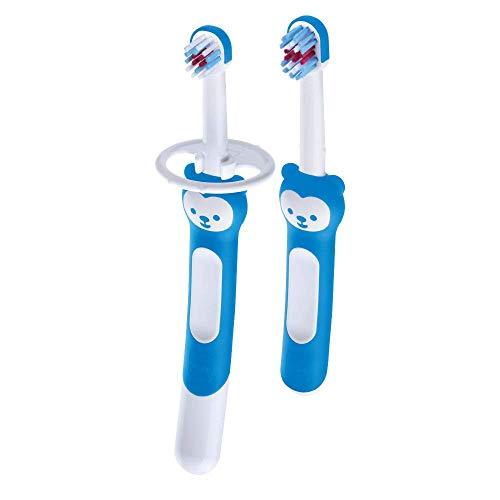 Mam Learn To Brush, Set Spazzolini Denti Bambini con Manico Lungo, da 5+ Mesi, Azzurro