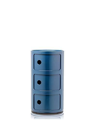 Kartell Componibili, Contenitore 3 Elementi, Blu, Base Tonda