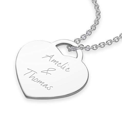 Herzkette mit Gravur Silber 925 für Namen Buchstabe Datum Initialen Liebes Geschenk für Freundin...