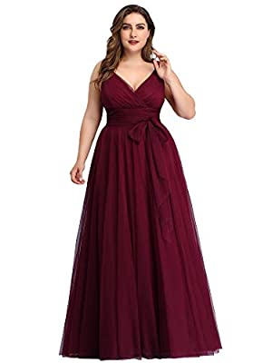 """Padded enough for """"no bra"""" option Features: V-Neck, A-Line, front wrap, empire waist, floor length maxi dress Perfect as bridesmaid dresses, wedding dresses, wedding guest dresses, evening dresses, formal dresses.etc The flowy tulle maxi dress is so ..."""