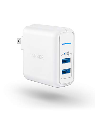 USB Charger, Anker Elite Dual Port 24W Wall Charger, PowerPort 2 with PowerIQ and Foldable Plug, for iPhone 11/Xs/XS Max/XR/X/8/7/6/Plus, iPad Pro/Air 2/Mini 3/Mini 4, Samsung S4/S5, and More