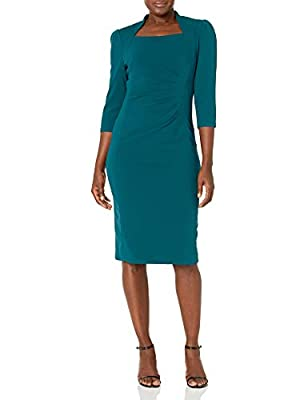 Raglan Sleeve Square Neck Ruched Details Fitted Shift Dress