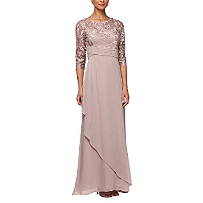 Long A-line dress with embroidered bodice Pleated waist, and asymmetric overlay skirt