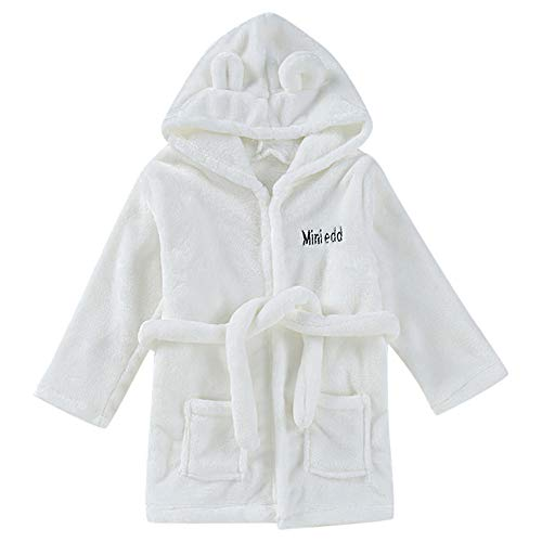 iLOOSKR Infant Hooded Bathrobe (0M~2T) Warm and Breathable Solid Bathrobe Cotton Plush Towel Pajamas(White,18-24 Months)