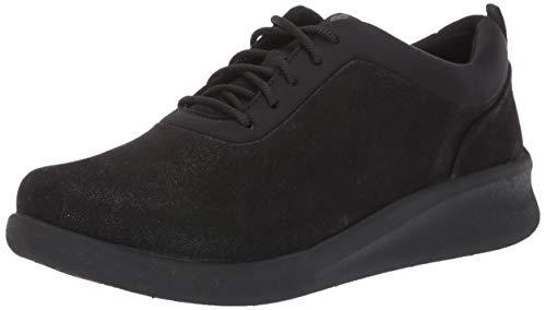 Clarks Women's Sillian 2.0 Pace Sneaker, Black Synthetic Nubuck, 8.5 Wide