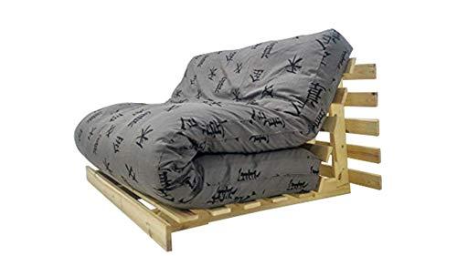 Futon On Line divano letto Luna, naturale, Custodia Grigio Motivos giapponesi, 200 x 140 cm