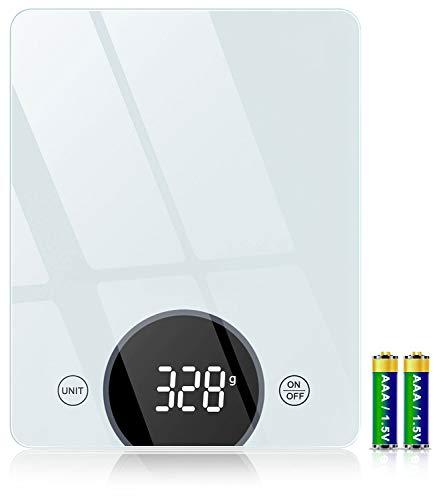 Bilancia da Cucina, Cocoda Bilancia Cucina Digitale da 10kg, con Precisione di 1g/0,05oz e Funzione Tare, Display a LED e Vetro Temperato, 4 Unit Bilance in g e oz per Cucina (2 Batterie Incluse)