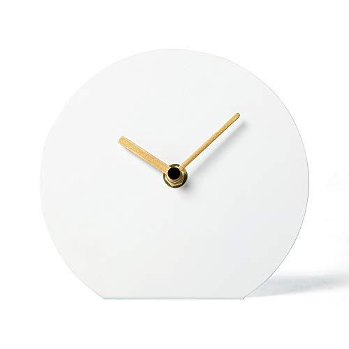 NIKKY HOME Stille Tischuhr Eisen Kein-Skalen Design Nicht Ticken für Wohnzimmer Schlafzimmer Hauptdekoration 15,5 x 5,4 x 14 cm Weiß