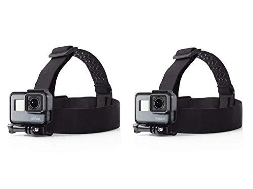 Febbya Fascia da Testa per Action Cam, 2 Pack Head Strap Mount Universale Fascia Testa per Fotocamera Impermeabile Regolabile per GoPro Hero Campark 4k Nero