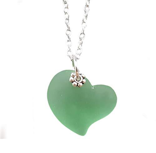Handmade in Hawaii, Peridot Green Heart sea glass...