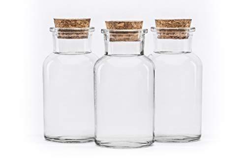 20 Stück 250 ml Glasbehälter Glasflasche mit Korken Verschluss rund 0,25 liter l leerer...