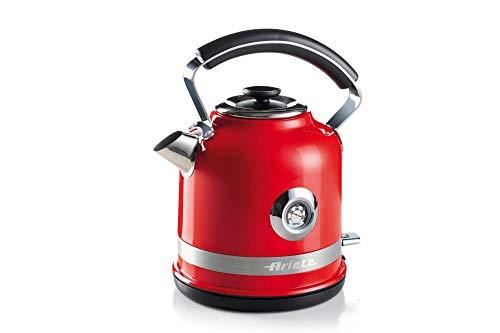 Ariete 2854 - Hervidor eléctrico moderno inalámbrico de 360°, sistema autoapagado y filtro extraíble, nivel de agua visible, termómetro, 2000 W, 1,7 litros, rojo