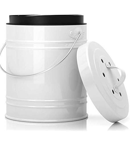 Oversized 1.3 Gallon Kitchen Compost Bin with EZ-No Lock Lid, Plastic Liner & Charcoal Filters In White & Black - Sturdy Construction & Odor-Free Seal To Prevent Bugs & Smell w/Dishwasher Safe Bucket