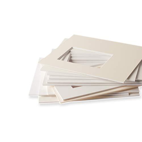 Passepartouts in Museumsqualität – alle Weißtöne – 1,4mm stark – alle Größen - (Außen: 60 x 80cm / für Bildgröße: 50 x 70cm) - Farbe: Reinweiß(Fay10)
