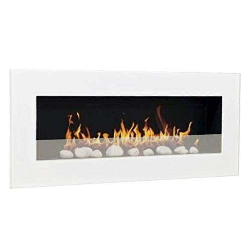 Ethanol Fireplace Gel, Fireplace Stove, Wall Fireplace Design Don Fuego XXL and 24 Decorative Stones, white
