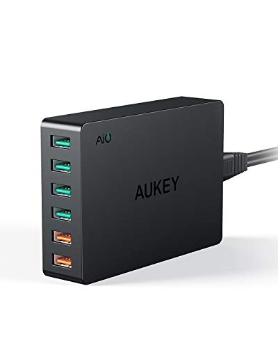Quick Charge 3.0 AUKEY 60W USB Charger with 6-Port USB Charging Station for Samsung Galaxy Note8, iPhone X / 8 / Plus, iPad Pro / Air 2 and More