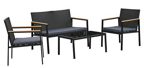 Outsunny Set 4 Pezzi Salotto da Esterni con 2 Sedie, Divano e Tavolino | Mobili da Giardino in Rattan e Acciaio Nero