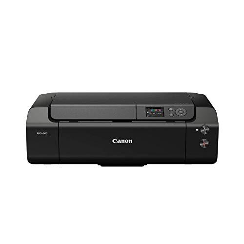 Canon imagePROGRAF PRO-300 A3+ Drucker Farbtintenstrahldrucker Fotodrucker (DIN A4, A3, A3+, 4800 x 2400 dpi, 7,5 cm LCD, WLAN, LAN, USB, AirPrint, PRINT App, 10 separate Tintentanks), schwarz