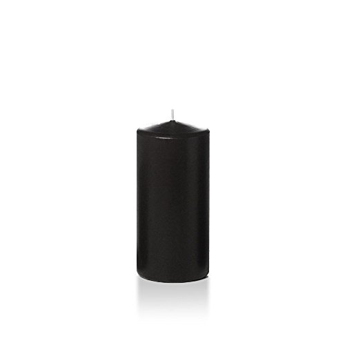 yummi 3' x 6' Black Round Pillar Candles - 3 per Pack