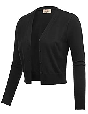 The shrug cardigan features nine point length sleeves, v-neck top, buttons placket and cropped design The open front shrug bolero can be worn with camisole or sleeveless dresses etc. The cropped shrug is not too thick or thin, great for any season an...