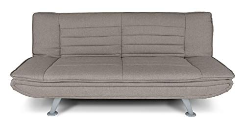Divano letto clic clac in tessuto tortora - divano Iris 3 posti