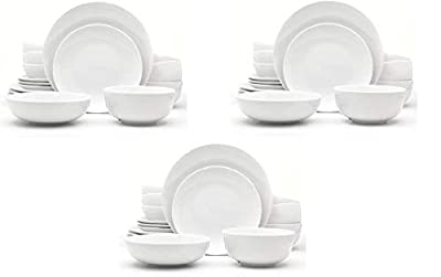 """Service for 4 includes four each: dinner plate (10. 6"""" X 10. 6"""" X 1. 1""""), salad plate (8. 4"""" X 8. 4"""" X 1. 06""""), cereal bowl (5. 97"""" X 5. 97"""" X 2. 76""""), and soup bowl (7"""" X 7"""" X 2. 13"""") Graceful and Classic: Casually refined for both casual and formal..."""