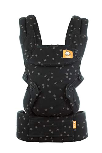 Baby Tula Explore Baby Carrier 3.2 – 20.4 kg, Adjustable Newborn to Toddler Carrier, Multiple Ergonomic Positions, Front and Back Carry, Easy-to-Use, Lightweight – Discover, Black with Gray Stars