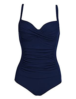 UNIQUE DESIGN:Stylish by land and sea, this sophisticated one-piece monokinis swimsuit shines with curve-loving ruching front,which makes you stand out in the crowd. ENHENSE YOUR CURVES:Vintage Inspired swimsuit allover shirring visually slims and co...