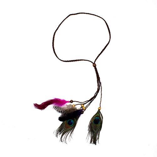 Lurrose Diadema de plumas de indio con borla y cuerda de cáñamo hairband para tocado de mujeres niñas (banda marrón)