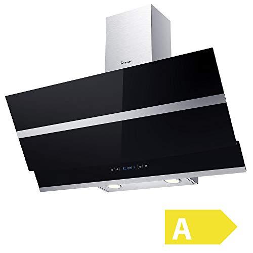 Cappa aspirante da cucina (90 cm, acciaio inox, vetro nero, extra silenzioso, 605m/h, 4 passi,...