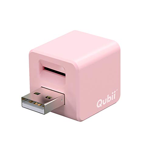Maktar Qubii ピンク 充電しながら自動バックアップ iphone usbメモリ ipad 容量不足解消 写真 動画 音楽 連絡先 SNS データ 移行 SDカードリーダー 機種変更 MFi認証 (microSD別売)