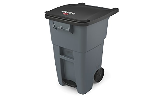 Rubbermaid Commercial Products Brute Rollout Step On Trash/Garbage Can, 50-Gallon, Gray (1971956)