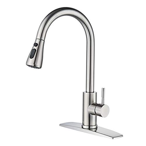 FORIOUS Kitchen Faucet with Pull Down Sprayer Brushed Nickel, High Arc Single Handle Kitchen Sink Faucet with Deck...