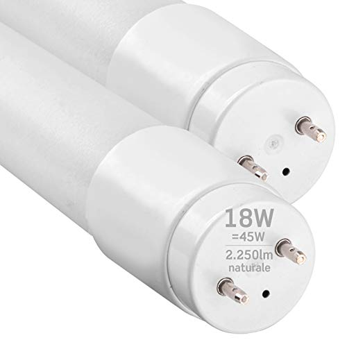 2x Tubi LED 120cm G13 T8 18W Professionale Alta Efficienza Garanzia 5 Anni 2250 lumen - Luce Bianco Naturale 4000K - Fascio Luminoso 160 - Sostituzione Neon